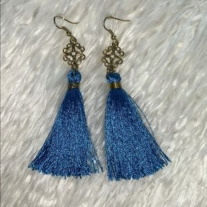 Jewelry - 2.75 in Blue/Gold Fringe Tassel Style Earrings